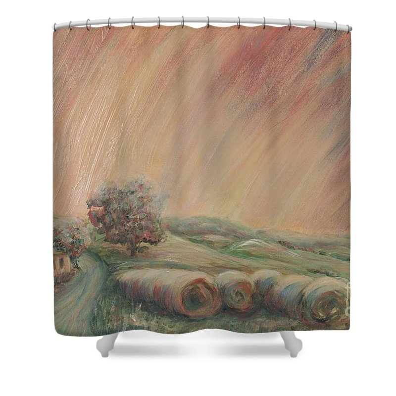 Landscape Shower Curtain featuring the painting Tuscany Hayfields by Nadine Rippelmeyer