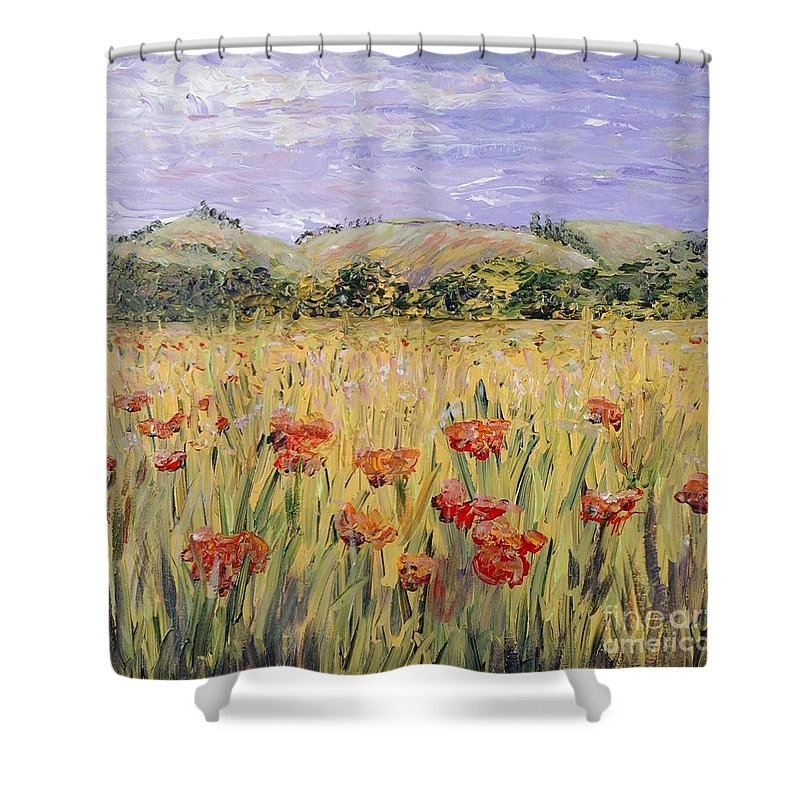 Poppies Shower Curtain featuring the painting Tuscany Poppies by Nadine Rippelmeyer