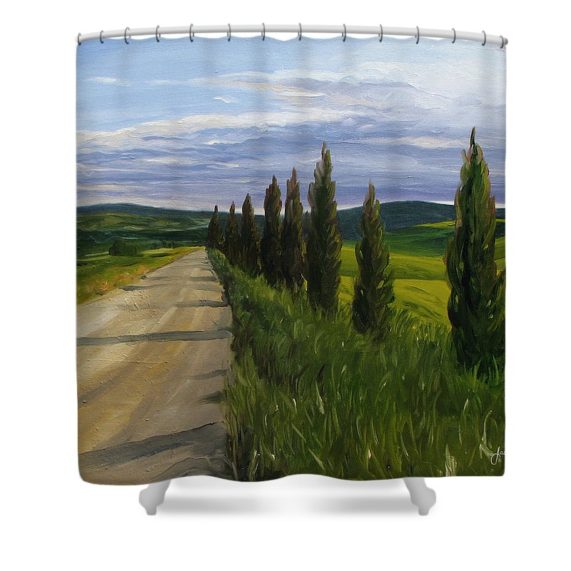 Shower Curtain featuring the painting Tuscany Road by Jay Johnson