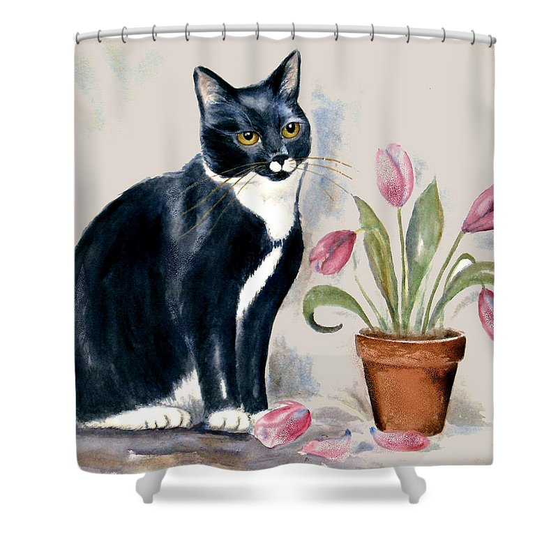 Cat Shower Curtain featuring the painting Tuxedo Cat Sitting By The Pink Tulips by Frances Gillotti