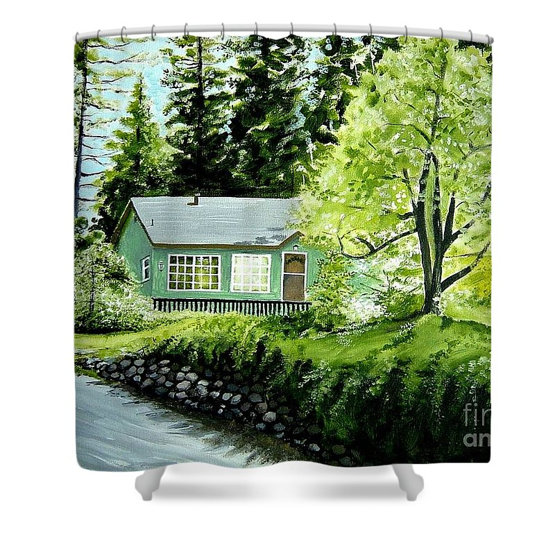 Landscape Shower Curtain featuring the painting Twaine Harte by Elizabeth Robinette Tyndall