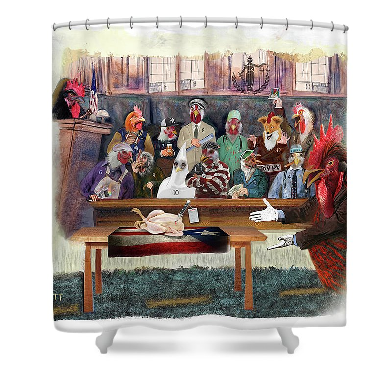 Twelve Angry Men Shower Curtain featuring the painting Twelve Angry Roosters by Robert Pratt