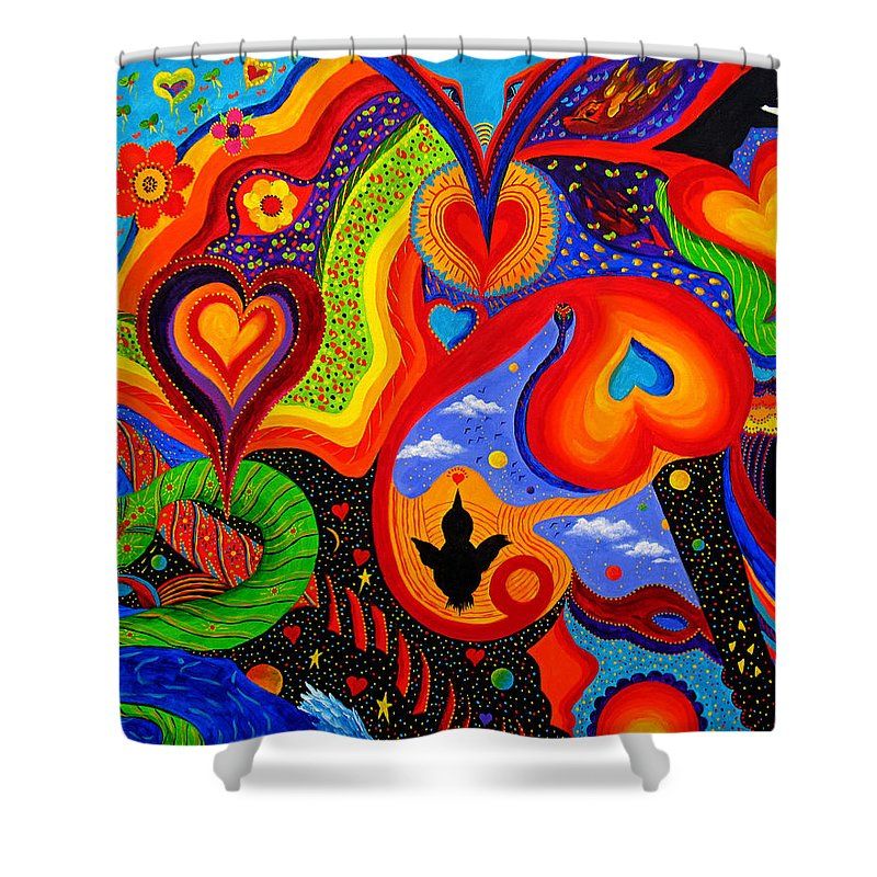 Abstract Shower Curtain featuring the painting Hearts by Marina Petro