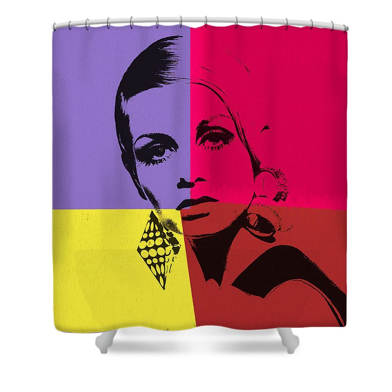 Twiggy Pop Art 1 Shower Curtain featuring the mixed media Twiggy Pop Art 1 by Dan Sproul