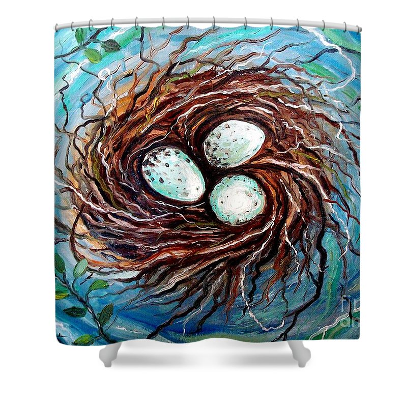 Nest Shower Curtain featuring the painting Twigs by Elizabeth Robinette Tyndall