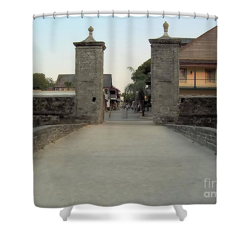 City Gates Shower Curtain featuring the photograph Twilight At The City Gates by D Hackett