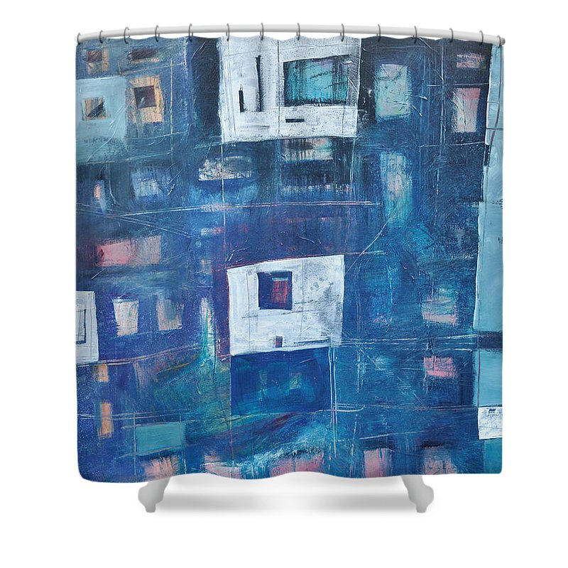 Abstract Shower Curtain featuring the painting Twilight Highrise by Tim Nyberg