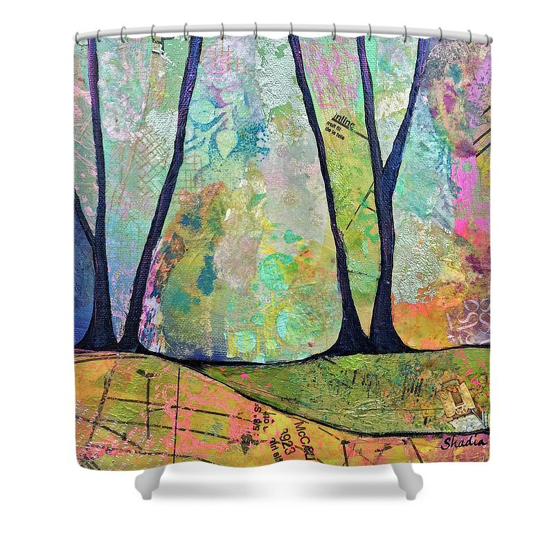 Fall Shower Curtain featuring the painting Twilight I by Shadia Derbyshire