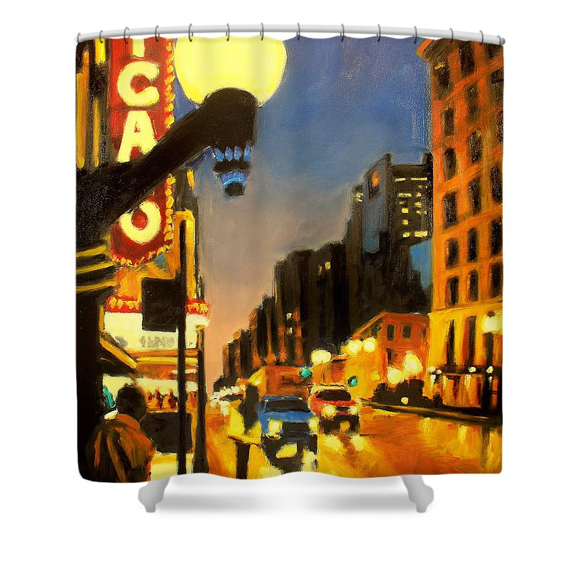 Rob Reeves Shower Curtain featuring the painting Twilight In Chicago - The Watcher by Robert Reeves