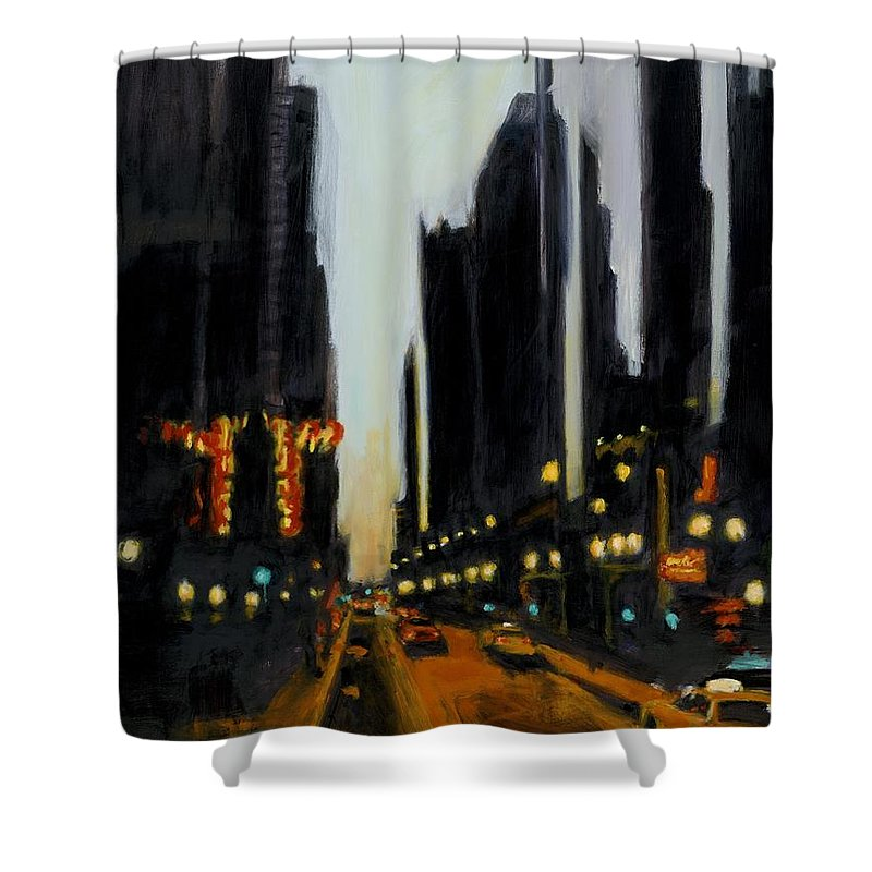 Rob Reeves Shower Curtain featuring the painting Twilight In Chicago by Robert Reeves