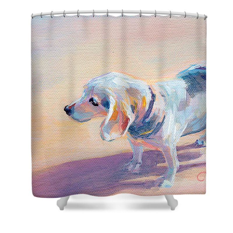 Beagle Shower Curtain featuring the painting Twilight by Kimberly Santini