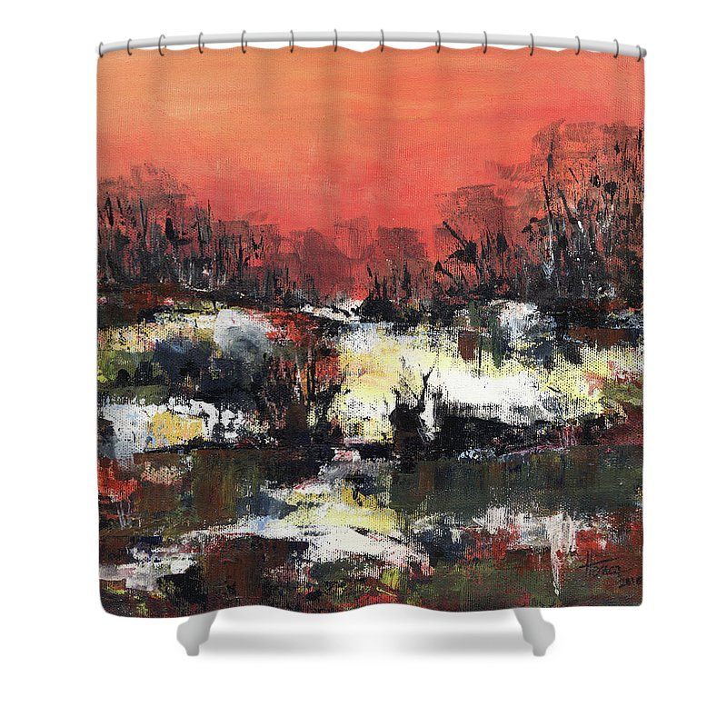 Abstract Shower Curtain featuring the painting Twilight Madness by Aniko Hencz