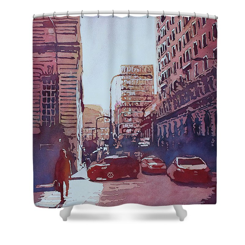 Chicago Shower Curtain featuring the painting Twilight Off Michigan Arve.  by Jenny Armitage