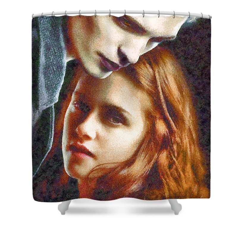 Shower Curtain featuring the digital art Twilight by Galeria Trompiz