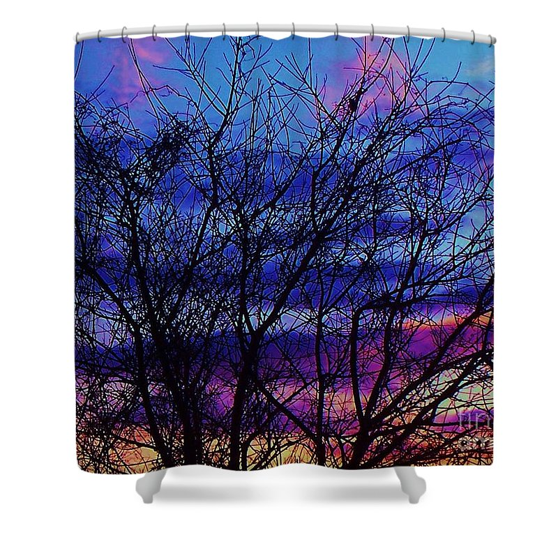 Twilight Shower Curtain featuring the painting Twilight Sunset by Eric Schiabor