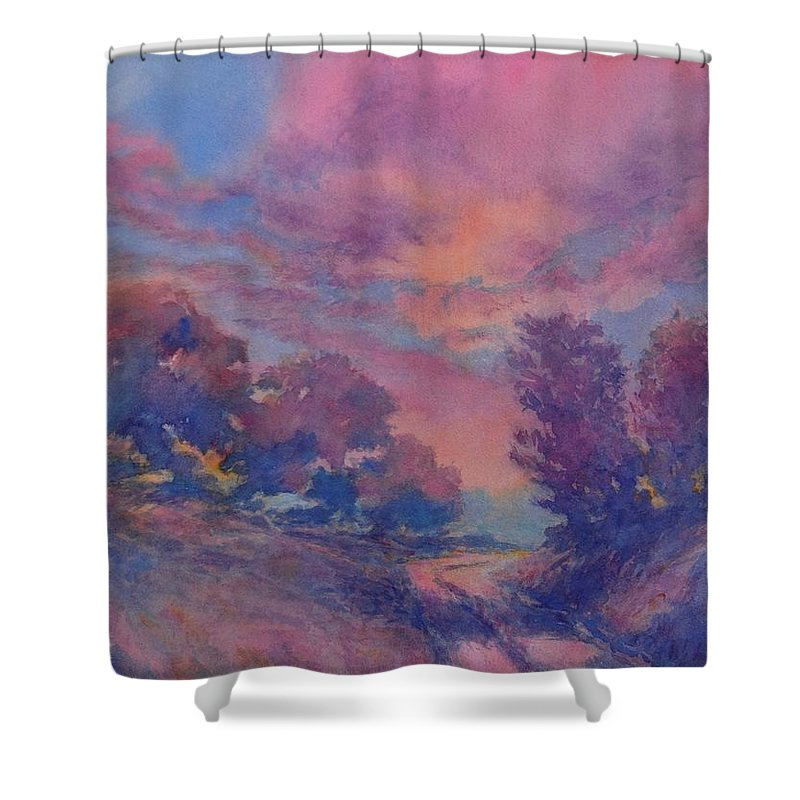 Landscape Shower Curtain featuring the painting Twilight Time, No. 2 by Virgil Carter