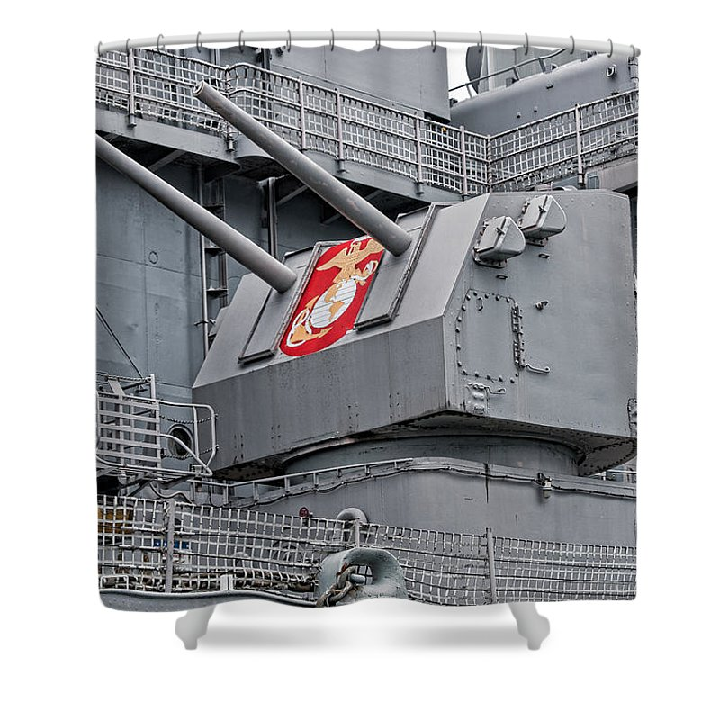 Uss Wisconsin Shower Curtain featuring the photograph Twin Fives by Christopher Holmes