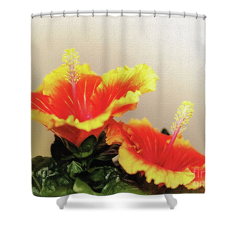 Mona Stut Shower Curtain Featuring The Photograph Twin Peaks Hibiscus Apollo By