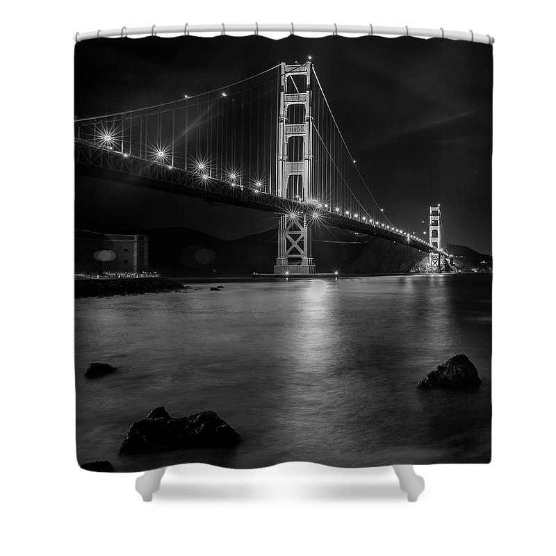 2017 Shower Curtain featuring the photograph Twinkling Golden Gate Bridge Black And White by Bridget Calip