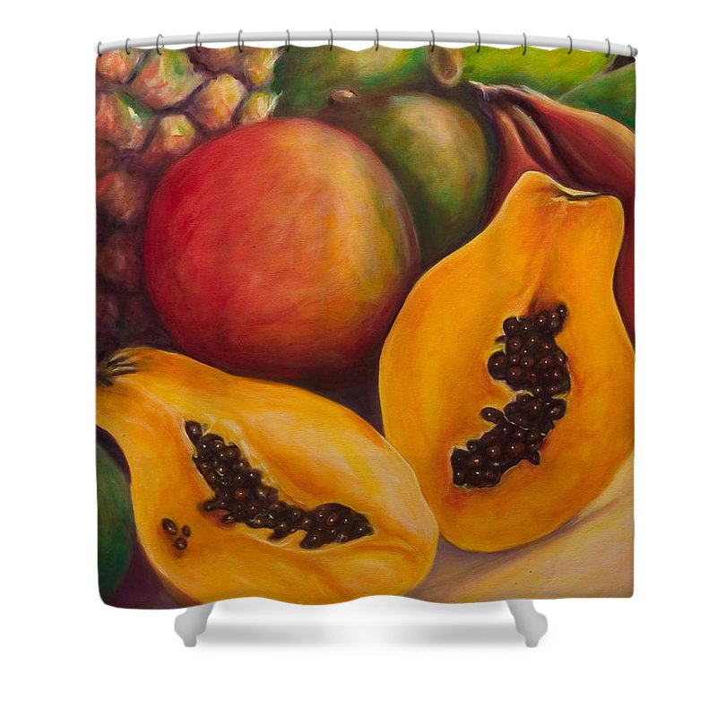 Papaya Shower Curtain featuring the painting Twins by Shannon Grissom