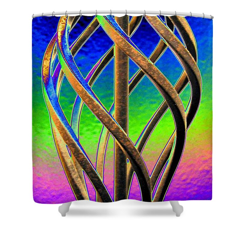 Abstract Shower Curtain featuring the digital art Twist And Shout 2 by Will Borden