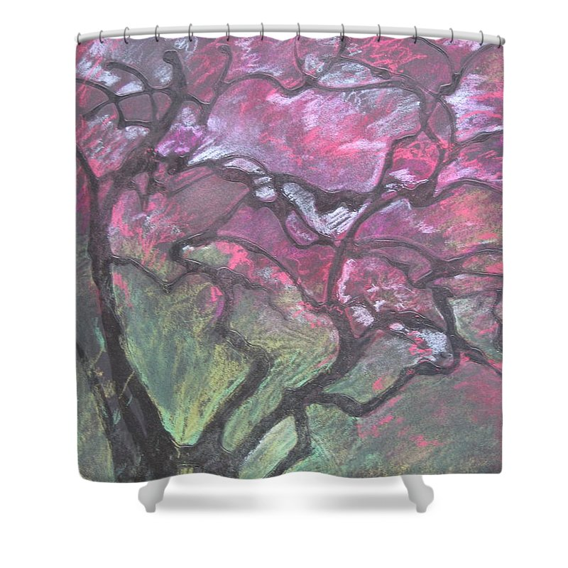 Pastel Shower Curtain featuring the drawing Twisted Cherry by Leah Tomaino