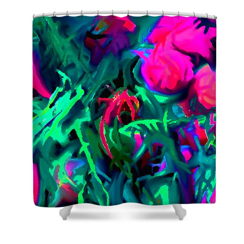 Abstract Shower Curtain featuring the digital art Twisted by Ian MacDonald