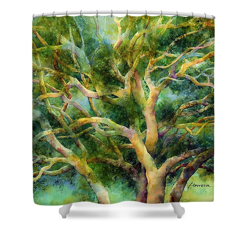Oak Shower Curtain featuring the painting Twisted Oak by Hailey E Herrera