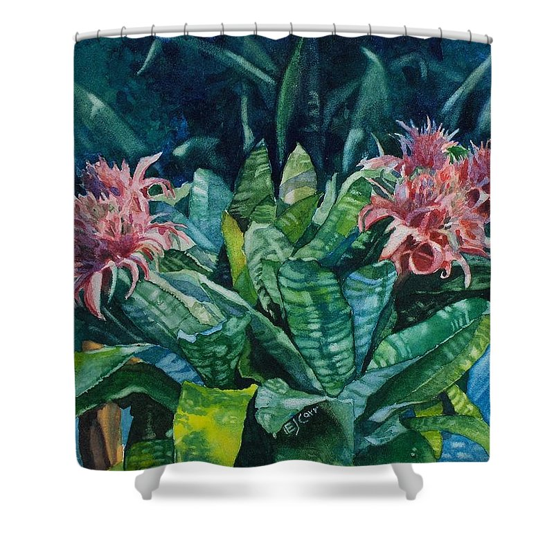 Floral Shower Curtain featuring the painting Two Against Three by Elizabeth Carr
