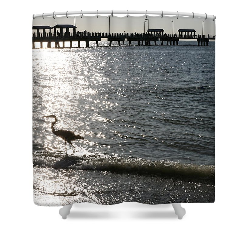 Fort De Soto Shower Curtain featuring the photograph Two Anglers At Fort De Soto by Mal Bray