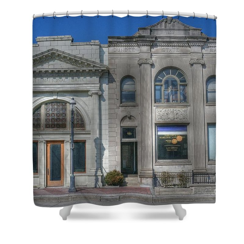 Bank Twins Shower Curtain featuring the photograph Two Banks by David Bearden
