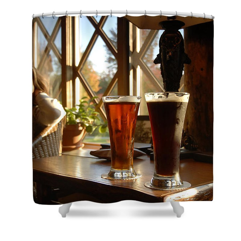 Beer Shower Curtain featuring the photograph Two Beers At The Lodge by David Lee Thompson
