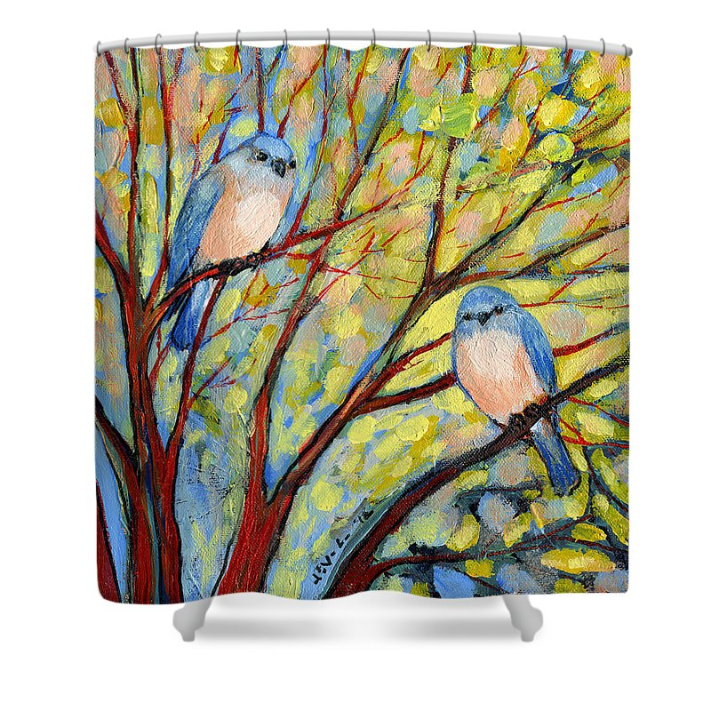 Bird Shower Curtain featuring the painting Two Bluebirds by Jennifer Lommers