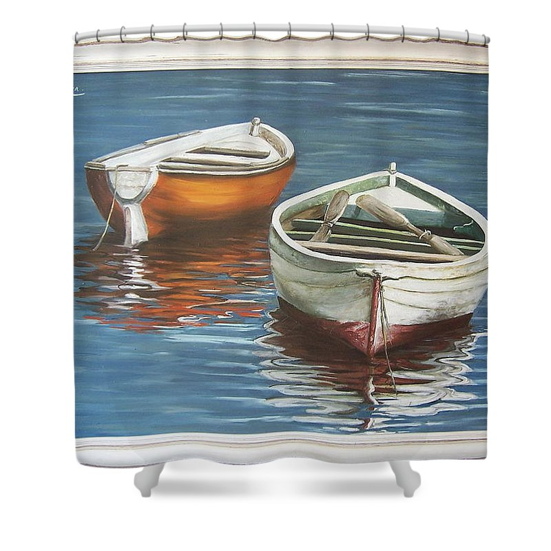 Boats Reflection Seascape Water Boat Sea Ocean Shower Curtain featuring the painting Two Boats by Natalia Tejera