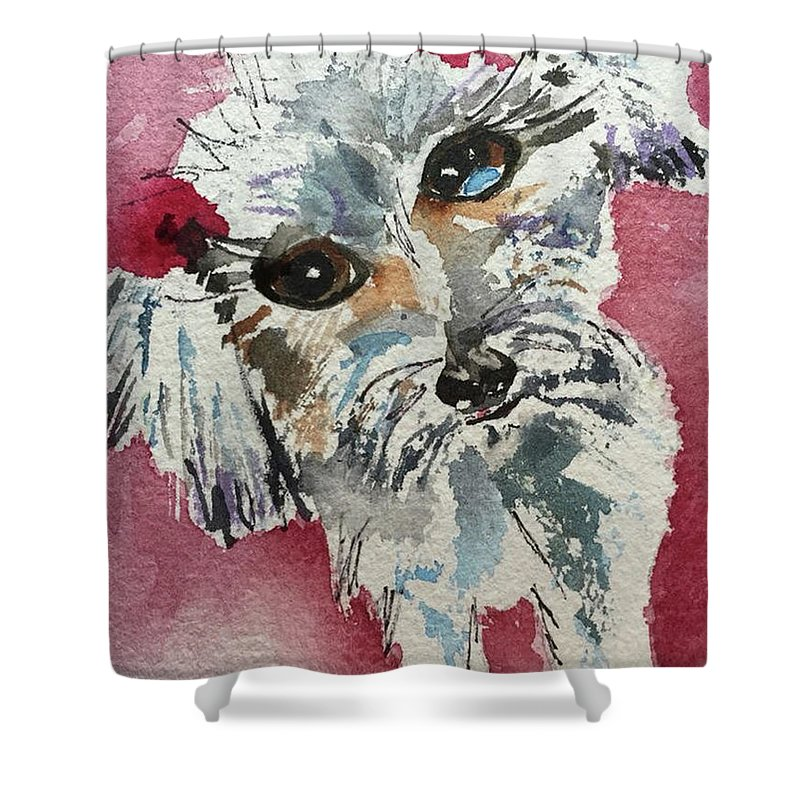 Pet Shower Curtain featuring the painting Two Bows by Bonny Butler