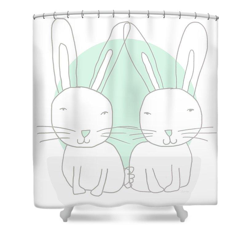 Bunny Mixed Media Shower Curtains