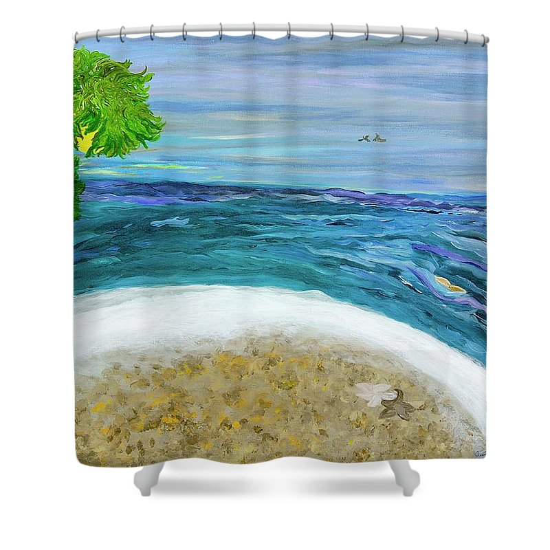 Beach Scene Shower Curtain featuring the painting Two By Two At Midnight Blue by Sara Credito