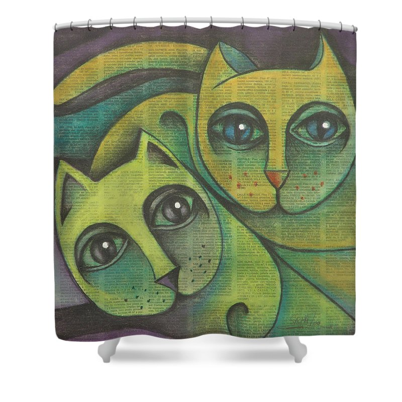 Sacha Circulism Circulismo Shower Curtain featuring the drawing Two Cats 2000 by S A C H A - Circulism Technique