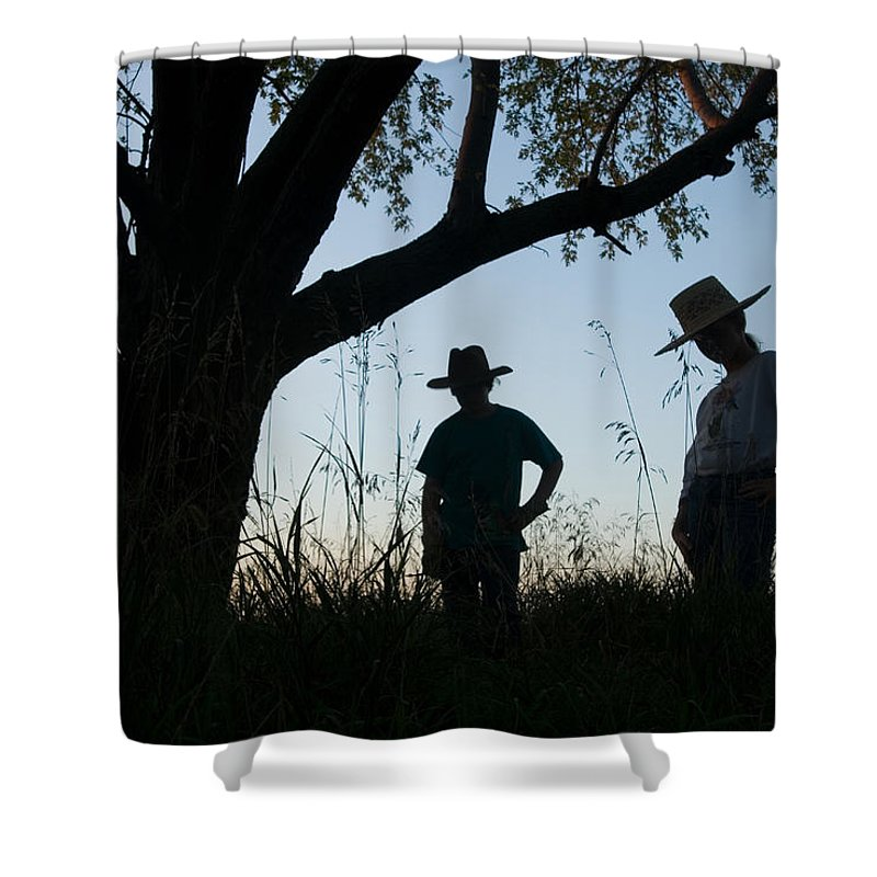Photography Shower Curtain featuring the photograph Two Children In Cowboy Hats by Joel Sartore