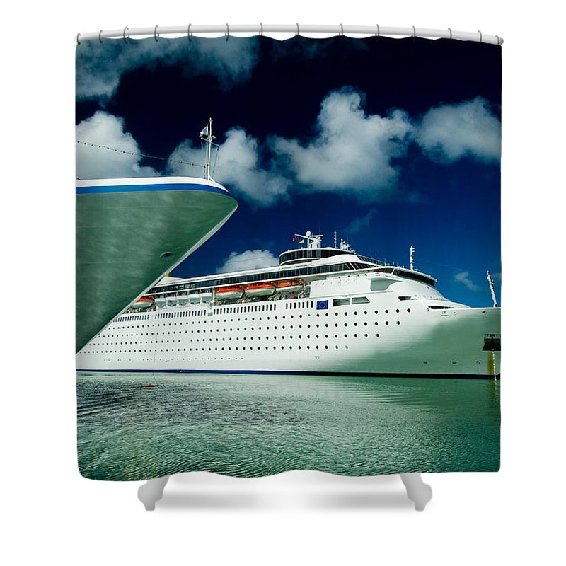 Saint Johns Shower Curtain featuring the photograph Two Cruise Ships Docked At A Caribbean by Todd Gipstein