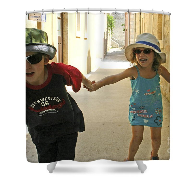 Child Shower Curtain featuring the photograph Two Excited Children by Danny Yanai