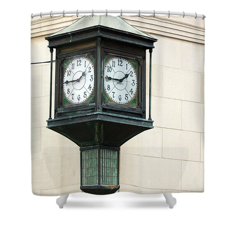 Time Clock Architecture Green Urban City Shower Curtain featuring the photograph Two Faced Time by Jill Reger