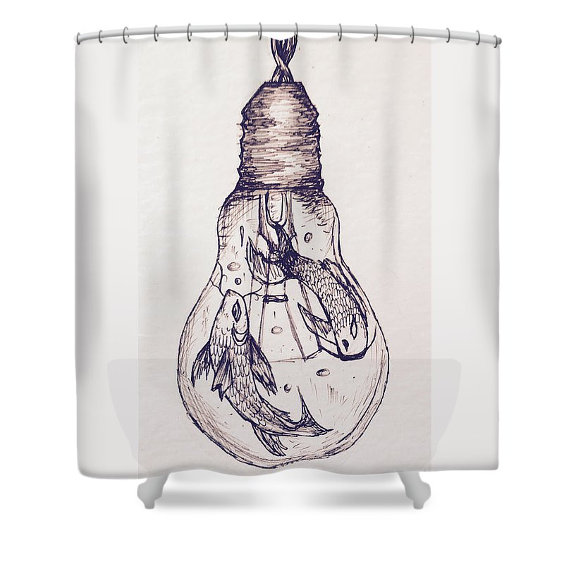 Two Fish In A Lightbulb Shower Curtain for Sale by Elzeri Pelser