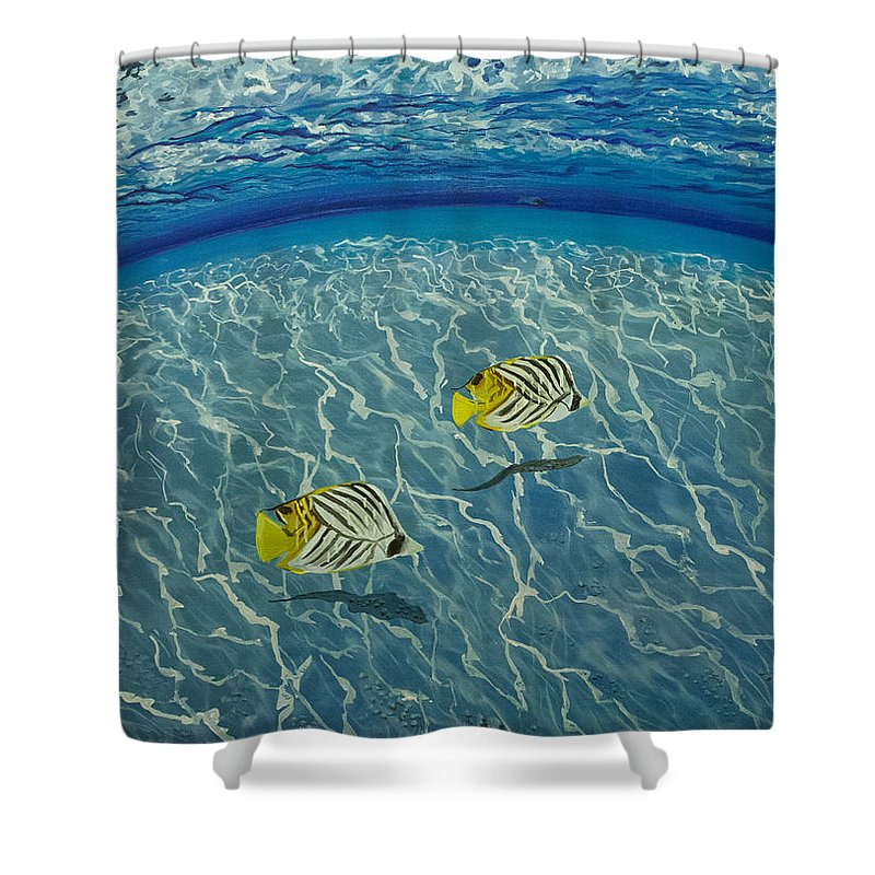 Sea Shower Curtain featuring the painting Two Fish by Valentyna Pylypenko
