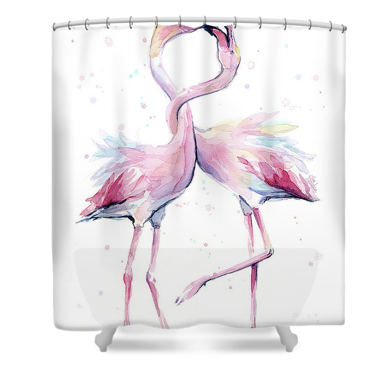 Flamingos Shower Curtain Featuring The Painting Two Watercolor Famingo Love By Olga Shvartsur