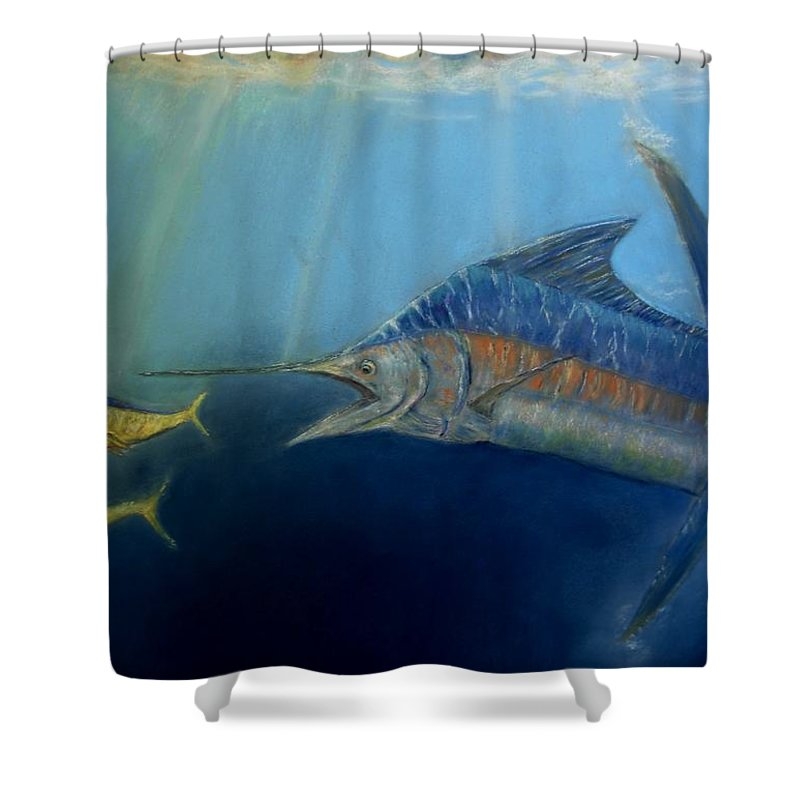 Marine Wildlife Shower Curtain featuring the pastel Two For Lunch by Ceci Watson