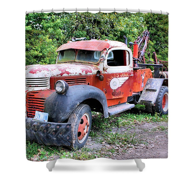 Old Truck Shower Curtain featuring the photograph Two for One by Kristin Elmquist