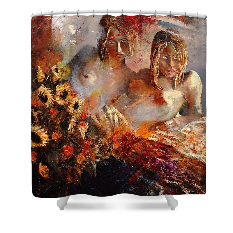 Girl Nude Shower Curtain featuring the painting Two Friends by Pol Ledent