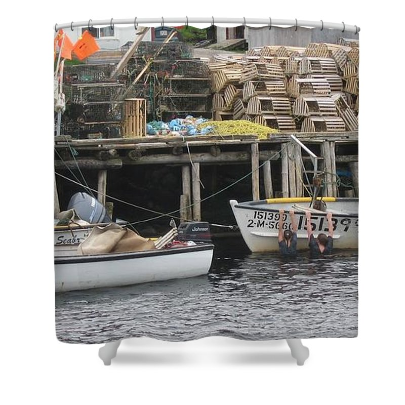 Photograph Atlantic Ocean Water Sea Swimming Girl Summer Newfoundland Bonnebay Boat Lobster Shower Curtain featuring the photograph two girls swimming in the Atlantic Ocean by Seon-Jeong Kim
