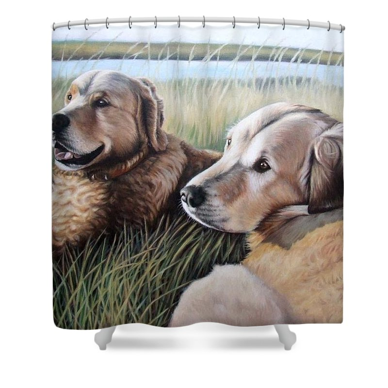 Dogs Shower Curtain featuring the painting Two Golden Retriever by Nicole Zeug